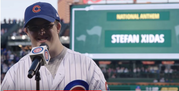 Stefen sings the National Anthem at the Chicago Cubs game!